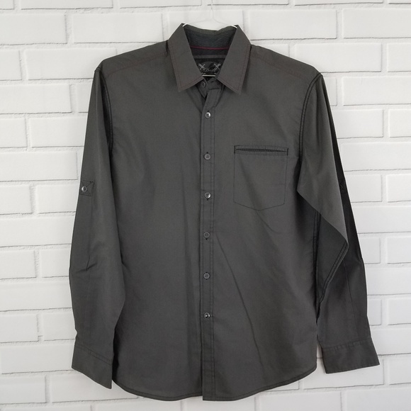 Drill Nyc Shirts Dark Gray Long Sleeve Button Down Shirt